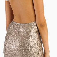 Champagne Gold Sequin Dress - Free Gift W Purchase