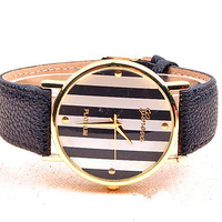 simple stripe wrist Watch, girl Wrist Watch Artificial Leather Watch Retro Style Women's Watch PB083