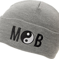 Married To The Mob Yin Yang Heather Grey Fold Beanie