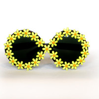 Lime Green Colored Daisy Circle Oversized Sunglasses