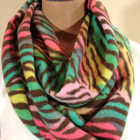 Multi-Colored Brown Zebra Print Fleece Infinity Scarf