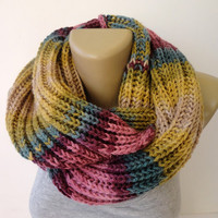 fashion knitted scarf ,winter . infinity scarf ,unisex scarves ,women , men . eternity . circle . loop scarf , gift ideas