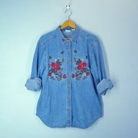 Vintage Ugly Christmas Denim Blouse Embroidered Shirt