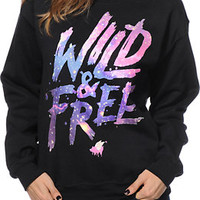 Glamour Kills Wild & Free Galaxy Black Crew Neck Sweatshirt