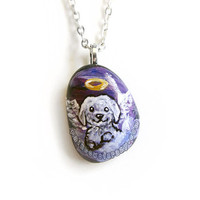 Shih Tzu Pendant, Angel Dog Necklace, Shitzu Painting, Pet Memorial Jewelry, Natural Beach Stone, Pet Loss Accessory, Purple Sky