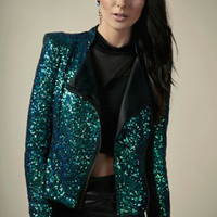 Boutique Georgia PU Trim Sequin Biker Jacket