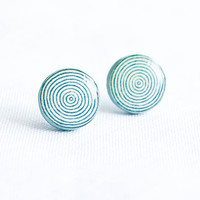 Spiral geometric stud earrings, minimalist jewelry, cute studs, cyan earrings