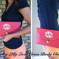 Monogrammed Hot Pink Luxe Cross Body Clutch