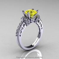 Modern Armenian Classic 14K White Gold 1.5 Ct Yellow Sapphire Diamond Wedding Ring R137-14KWGDYS