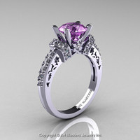Modern Armenian Classic 14K White Gold 1.5 Ct Lilac Amethyst Diamond Wedding Ring R137-14KWGDLA