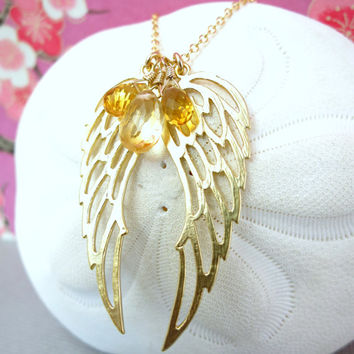 Reserved for Rosa - Gold double angel wing citrine necklace, love bird wings pendant