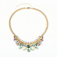 Pear Shape Faux Colorful Gem Stone Necklace