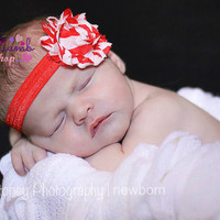 Baby Headband, Christmas Headband, Newborn headband, Candy cane Red White Flower Hairband, Newborn girl props, Kids Hair Accessories, Canad