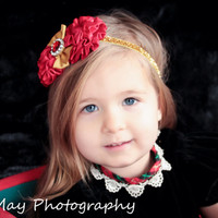 Baby Headband, Christmas Headband, Newborn headband, gold deep Red White Flower Hairband, Newborn girl props, Kids Hair Accessories, Canada