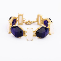 Dark Blue and White Facet Gem Stone Linked Bracelet
