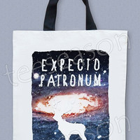 Expecto Patronum Bag Hogwarts Bag Harry Potter Bag Hippie Bag Galaxy Bag Big Bag Canvas Tote Bag Diaper Bag Shopping Bag Cream Bag