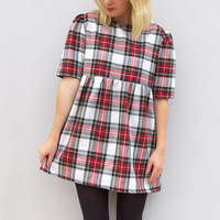 Tartan Shift Dress in Red and White Handmade by Vintage Style Me