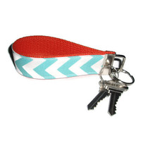 Aqua Chevron and Orange Wristlet Key Chain