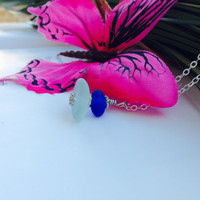Sea glass cairn pendant in seafoam & royal blue - cute mermaid jewelry FREE SHIPPING