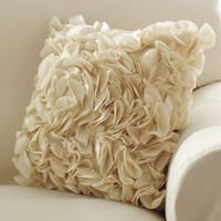 Ruffle Petal Accent Pillow Cover W/ Zip Closure 
