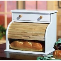 White Wooden Roll Top Bread Box With Drawer By Collections Etc