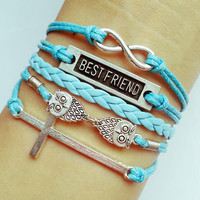 Charm Bracelet 025: Leather Braid Bracelet Owls Bracelet, Best Friend Bracelet, Cross Bracelet, Karma Bracelet