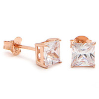 Rose Gold Clear Princess Brilliant Sterling Silver CZ Stud Earrings