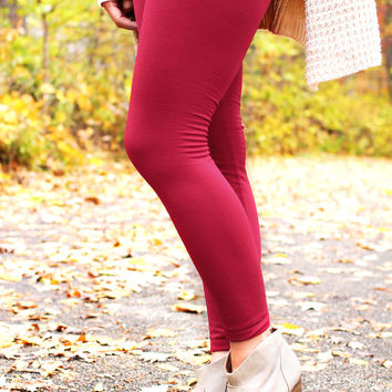 Legs For Days Leggings - Burgundy - ONE SIZE FITS MOST / BURGUNDY