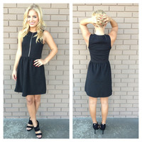 Black Zip Up Sleeveless Babydoll Dress