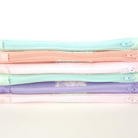 Set of 6 - Pastel Clutches Vintage Pink Mint Lace - Pastel Bridesmaid Gift - Peach Mint Pink Purple