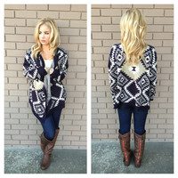 Navy & Gold Tribal Knit Cardigan