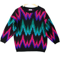 Bright Vintage 80s Zig Zag Tacky Ugly Sweater – New!