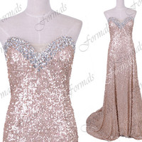 Mermaid Strapless Sequined Long Champagne Prom Dresses, Sequined Champagne Evening Gown, Wedding party Dresses, Formal Gown