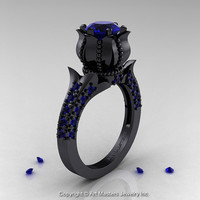 Classic 14K Black Gold 1.0 Ct Blue Sapphire Solitaire Wedding Ring R410-14KBGBS