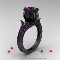 Classic 14K Black Gold 1.0 Ct Amethyst Solitaire Wedding Ring R410-14KBGAM