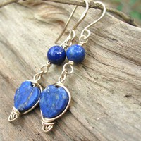 Lapis Lazuli Heart Layered Artisan Earrings, 14K Gold Filled Handmade