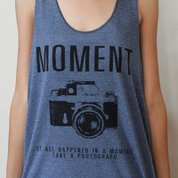 Art Moment Nikon indy vintage camera new sexy blue tank top t-shirt vest men women size L