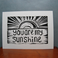 You are my Sunshine Design  Linocut Print by kellismprints on Etsy