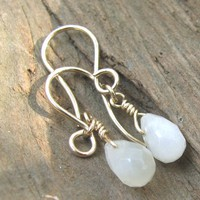 Dainty Artisan Moonstone Earrings On 14 Karat Gold Filled Wire Hooks