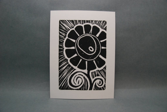 Big Fun Flower  Linocut Print by kellismprints on Etsy