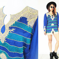 Vintage 70's 80's blue navy embroidered ethnic hippie bohemian boho disco indian native tunic blouse