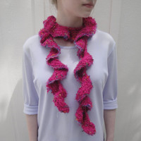Girls Ruffle Scarf, Hand Knit Magenta, Fluffy Boa, Fuchsia Pink, Tween Teen Women