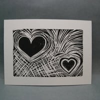 Love Hearts  Linocut Print by kellismprints on Etsy