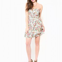 Sweetheart Floral Dress - Dresses