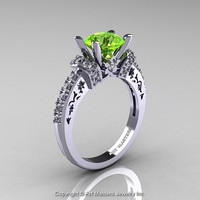 Modern Armenian Classic 14K White Gold 1.5 Ct Peridot Diamond Wedding Ring R137-14KWGDP
