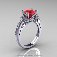 Modern Armenian Classic 14K White Gold 1.5 Ct Ruby Diamond Wedding Ring R137-14KWGDR