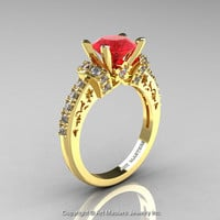 Modern Armenian Classic 14K Yellow Gold 1.5 Ct Ruby Diamond Wedding Ring R137-14KYGDR