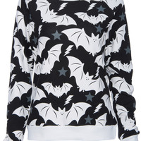 ROMWE | ROMWE White Bat Print Black Long-sleeved Sweatshirt, The Latest Street Fashion