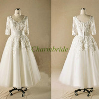 long modest white lace wedding dresses classic round neck 3/4 sleeve prom dress hot unique elegant gowns for wedding party