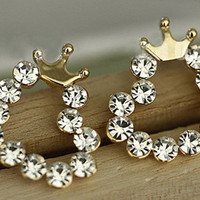 NT0024 Diamond crown earrings